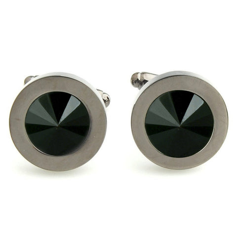 Peluche Diamond Cut - Gunmetal Cufflinks Brass, Stone Studded, Culture Stone, Black Onyx Stone