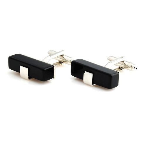 Peluche King's Ransom - Black Cufflinks Brass, Stone Studded, Culture Stone, Black Onyx Stone