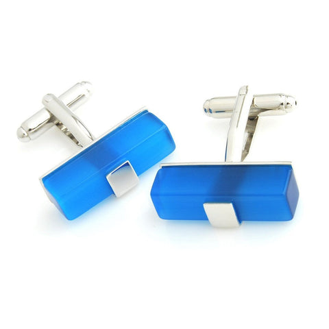 Peluche king's Ransom - Blue Cufflinks Brass, Stone Studded, Culture Stone, Blue Onyx Stone