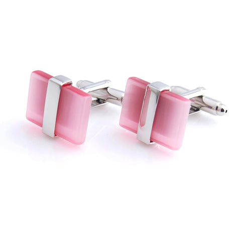 Peluche The Casanova - Pink Cufflinks Brass, Stone Studded, Culture Stone, Cat's Eye Stone
