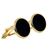 Peluche Circle of Oynx - Cufflinks Brass, Stone Studded, Culture Stone, Black Onyx Stone