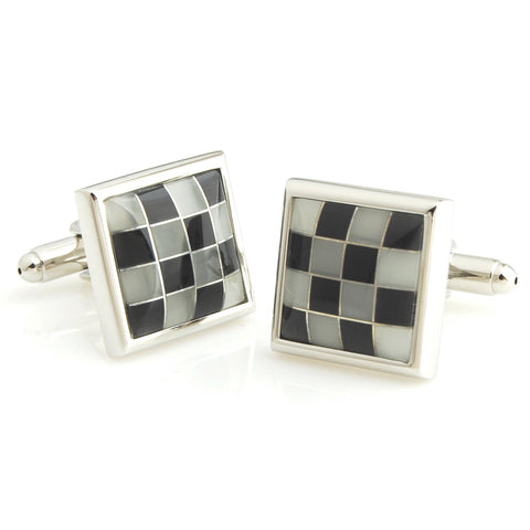 Peluche Check Mate - MOP and Oynx Cufflinks Brass, Semi Precious, Stone Studded, Natural Certified Stone, White Mother of Pearl (MOP), Black Onyx Stone