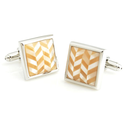 Peluche Herringbone - MOP - Brown Cufflinks Brass, Semi Precious, Stone Studded, Natural Certified Stone, White Mother of Pearl (MOP), Brown Tiger's Eye