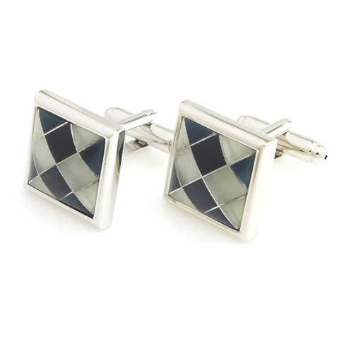 Peluche Asymmetric ChequeRed MOP Cufflinks Brass, Semi Precious, Stone Studded, Natural Certified Stone, White Mother of Pearl (MOP), Black Onyx Stone