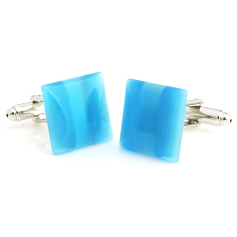 Peluche Step Up - Cufflinks Brass, Stone Studded, Culture Stone, Synthetic Blue Stone