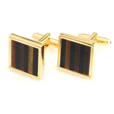 Peluche Kingly Striped - Tiger's Eye - Golden Cufflinks Brass, Semi Precious, Stone Studded, Natural Certified Stone, Natural Tiger's Eye, Black Onyx Stone