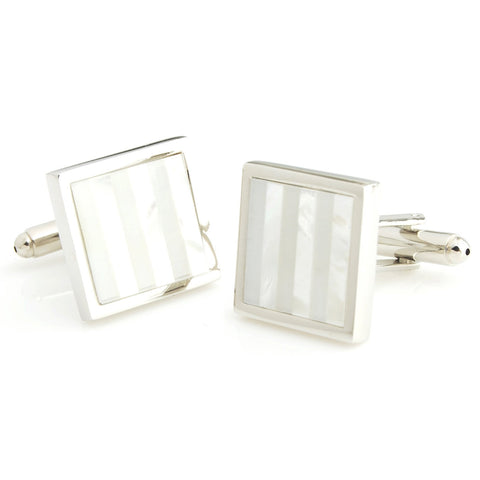 Peluche Kingly Striped - MOP Cufflinks Brass, Semi Precious, Stone Studded, Natural Certified Stone, White Mother of Pearl (MOP)