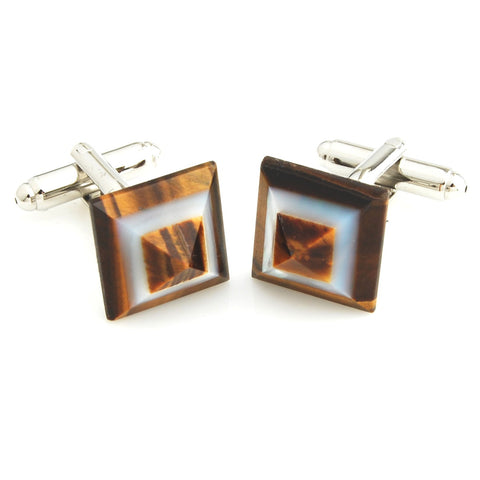 Piece of Art - Tiger's Eye and MOP Cufflinks