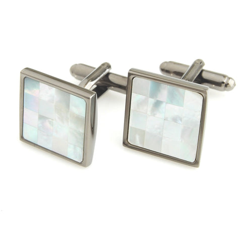 Peluche Superb - MOP - Cufflinks Brass, Semi Precious, Stone Studded, Natural Certified Stone, White Mother of Pearl (MOP)