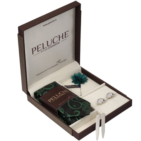Playful Cards Gift Box Includes 1 Neck Tie, 1 Brooch, 1 Pair of Cufflinks and 1 Pair of Collar Stays for Men | Genuine Branded Product from Peluche.in