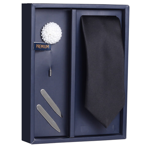 The Pleasant Greetings Gift Box Includes 1 Neck Tie, 1 Brooch & 1 Pair of Collar Stays for Men | Genuine Branded Product from Peluche.in