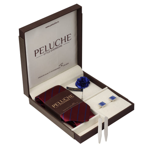 Ritzy Gift Box Includes 1 Neck Tie, 1 Brooch, 1 Pair of Cufflinks and 1 Pair of Collar Stays for Men | Genuine Branded Product from Peluche.in