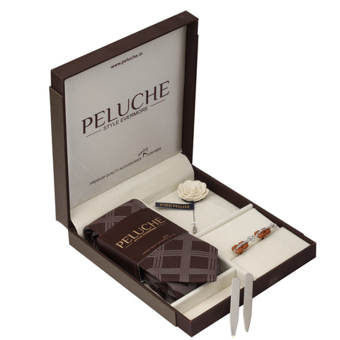 Beautiful Violins Gift Box Includes 1 Neck Tie, 1 Brooch, 1 Pair of Cufflinks and 1 Pair of Collar Stays for Men | Genuine Branded Product from Peluche.in