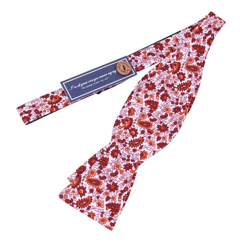 Peluche A Paisley Rendezvous - Maroon and White Bow Tie Cotton
