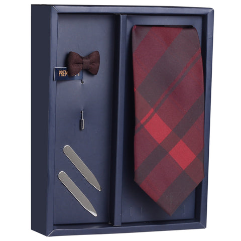 The Red Treat Gift Box Includes 1 Neck Tie, 1 Brooch & 1 Pair of Collar Stays for Men | Genuine Branded Product from Peluche.in