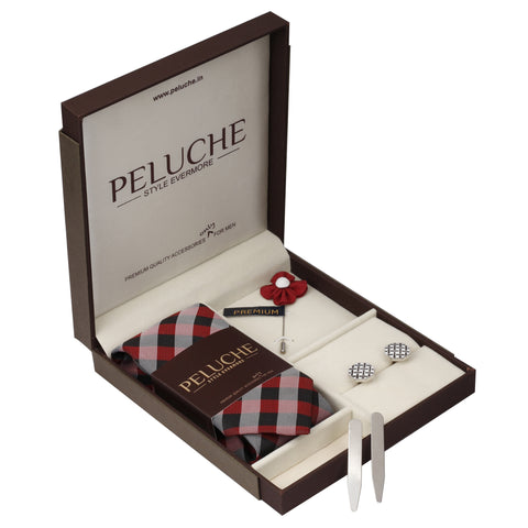 Trendy Gift Box Includes 1 Neck Tie, 1 Brooch, 1 Pair of Cufflinks and 1 Pair of Collar Stays for Men | Genuine Branded Product from Peluche.in