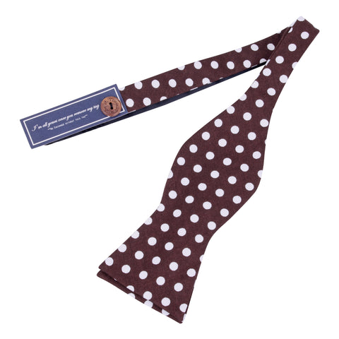Polka Siblings - Brown Self Tie Bow Tie