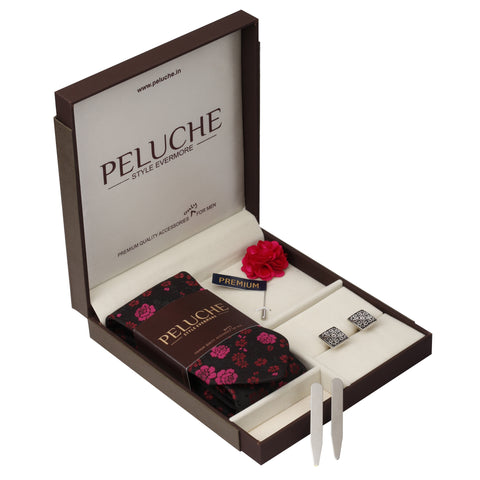 Swank Gift Box Includes 1 Neck Tie, 1 Brooch, 1 Pair of Cufflinks and 1 Pair of Collar Stays for Men | Genuine Branded Product from Peluche.in