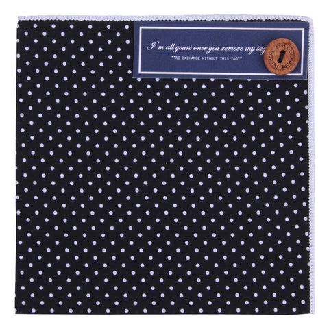 Peluche Kolka Black Pocket Square Cotton