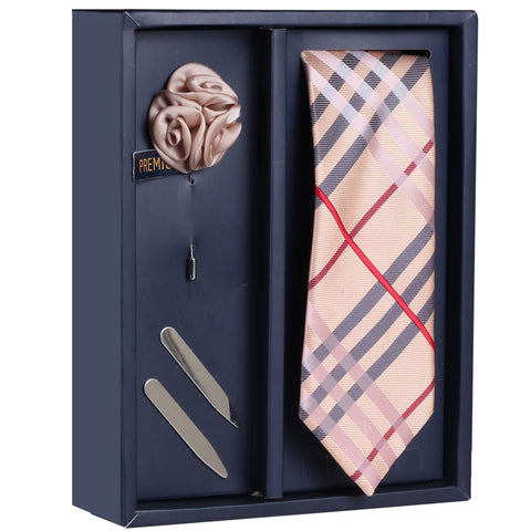 The Graceful Dawn Gift Box Includes 1 Neck Tie, 1 Brooch & 1 Pair of Collar Stays for Men | Genuine Branded Product from Peluche.in