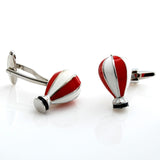 Peluche Hot Air Balloon - Red and White Cufflinks Brass, Enamel