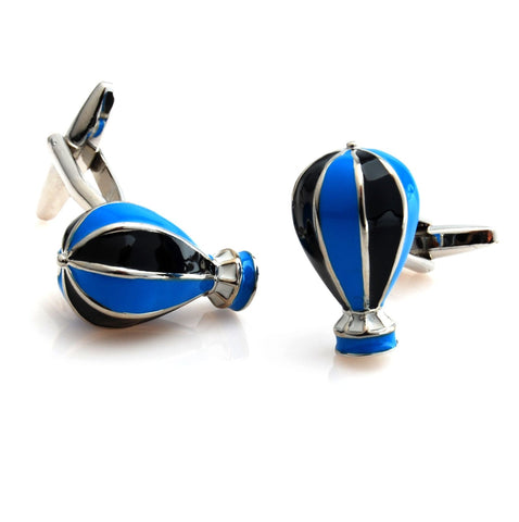 Peluche Hot Air Balloon - Blue and Black Cufflinks Brass, Enamel