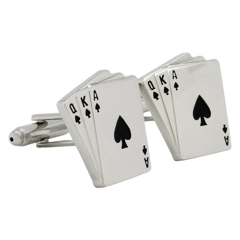 Peluche Gamble in Style - Black and Silver Cufflinks Brass, Enamel