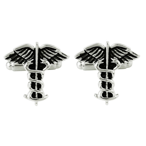 Peluche The Caduceus Symbol Cufflinks Brass, Enamel