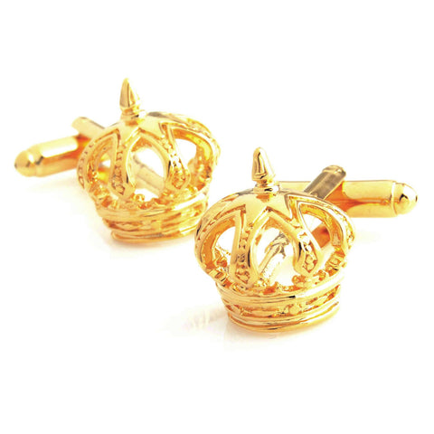 Peluche Crown - Golden Cufflinks Brass, Metal