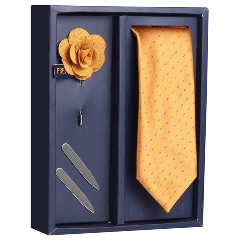 The Smoothing Set Gift Box Includes 1 Neck Tie, 1 Brooch & 1 Pair of Collar Stays for Men | Genuine Branded Product from Peluche.in