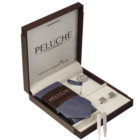 Voguish Gift Box Includes 1 Neck Tie, 1 Brooch, 1 Pair of Cufflinks and 1 Pair of Collar Stays for Men | Genuine Branded Product from Peluche.in