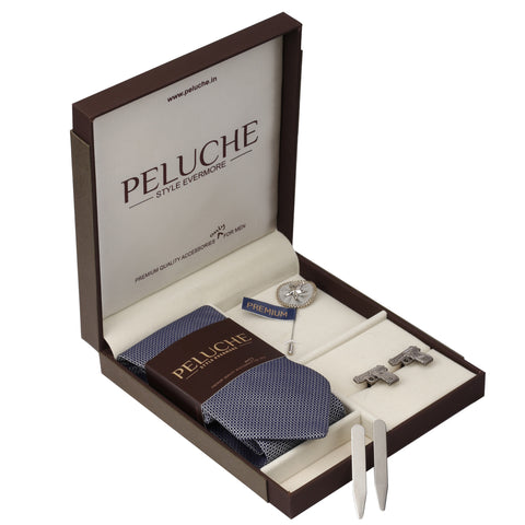 Shining Gun Gift Box Includes 1 Neck Tie, 1 Brooch, 1 Pair of Cufflinks and 1 Pair of Collar Stays for Men | Genuine Branded Product from Peluche.in