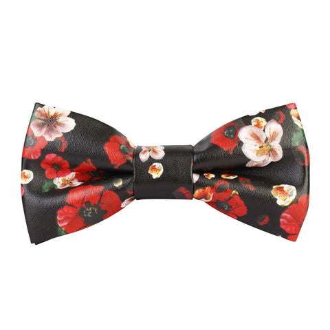 Corsage Black Coloured Leatherette Bow Tie For Men | Genuine Branded Product Leatherette