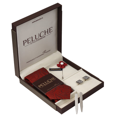 Uptown Gift Box Includes 1 Neck Tie, 1 Brooch, 1 Pair of Cufflinks and 1 Pair of Collar Stays for Men | Genuine Branded Product from Peluche.in
