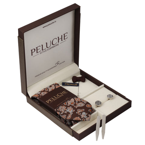 Contemporary Gift Box Includes 1 Neck Tie, 1 Brooch, 1 Pair of Cufflinks and 1 Pair of Collar Stays for Men | Genuine Branded Product from Peluche.in