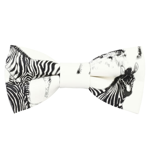 Zebra Love White Coloured Leatherette Bow Tie For Men | Genuine Branded Product Leatherette