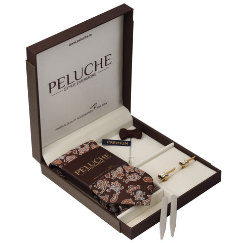 Playful Guitar Gift Box Includes 1 Neck Tie, 1 Brooch, 1 Pair of Cufflinks and 1 Pair of Collar Stays for Men | Genuine Branded Product from Peluche.in