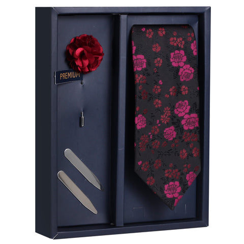 Bewitching Treat Gift Box Includes 1 Neck Tie, 1 Brooch & 1 Pair of Collar Stays for Men | Genuine Branded Product from Peluche.in