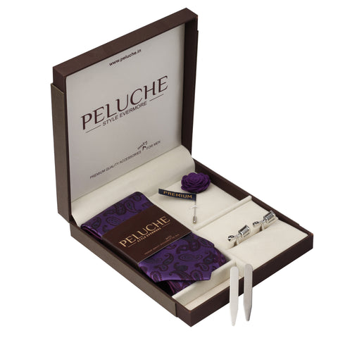 Dynamic Mic Gift Box Includes 1 Neck Tie, 1 Brooch, 1 Pair of Cufflinks and 1 Pair of Collar Stays for Men | Genuine Branded Product from Peluche.in