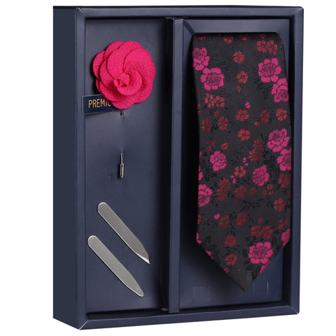 The Purple Surprise Gift Box Includes 1 Neck Tie, 1 Brooch & 1 Pair of Collar Stays for Men | Genuine Branded Product from Peluche.in