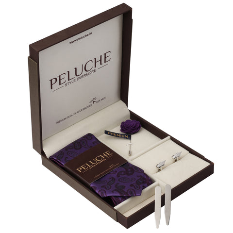 Pointed Pen Nib Gift Box Includes 1 Neck Tie, 1 Brooch, 1 Pair of Cufflinks and 1 Pair of Collar Stays for Men | Genuine Branded Product from Peluche.in