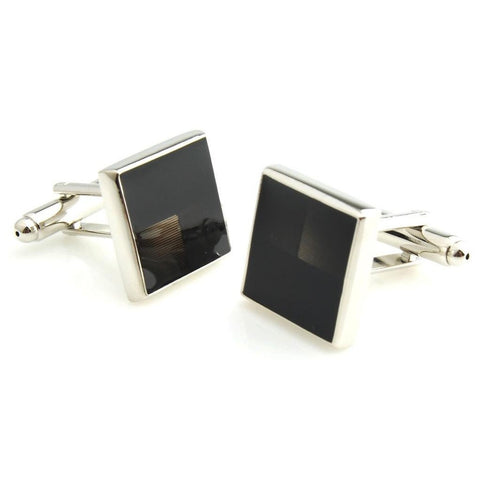 Resin and Metal Play -Black Cufflinks