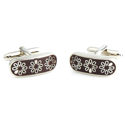 Peluche Contemporary Maroon Cufflinks Brass, Enamel