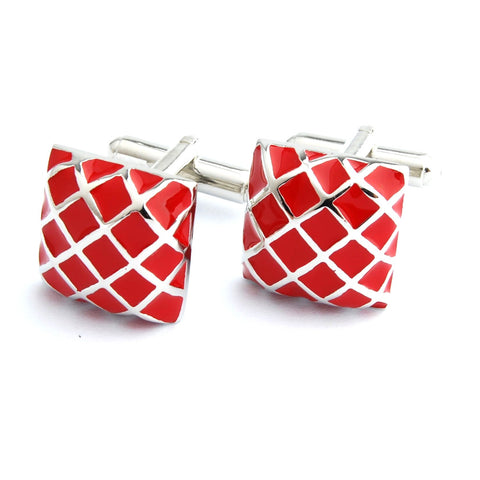 Peluche Enamel Play - Red Cufflinks Brass, Enamel
