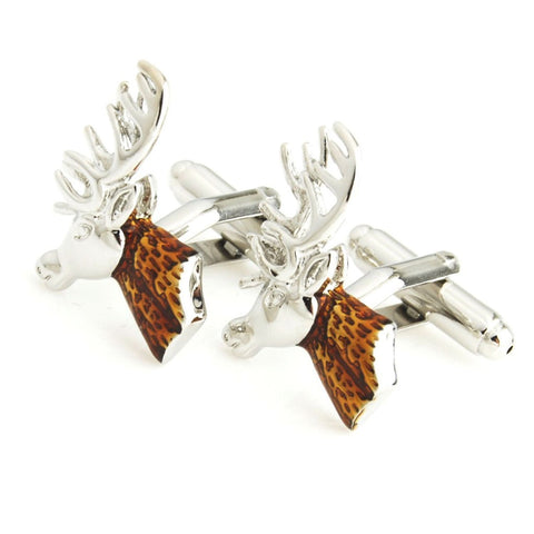 Silver Stag Brown Cufflinks for Men | Genuine Branded Product from Peluche.in