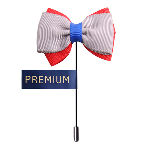 Peluche The Graceful Bow - Grey Red and Blue Brooch Brass, Satin