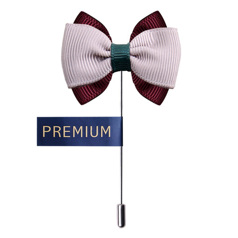 Peluche The Graceful Bow - Grey Maroon and Green Brooch Brass, Satin