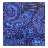 Peluche Silk Paisley - Blue Pocket Square Silk, Pure Silk