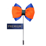 Peluche The Graceful Bow - Orange and Blue Brooch Brass, Satin
