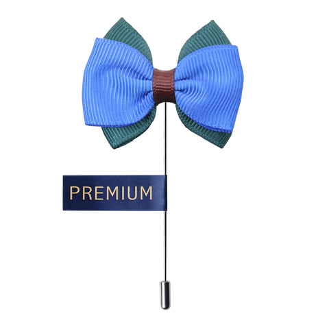 Peluche The Graceful Bow - Blue and Green Brooch Brass, Satin